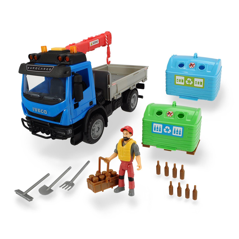 Купить Dickie Toys игровой набор Перевозчик стеклотары 7 аксессуаров Playlife, свет, звук, 25 см, 3836003, Китай