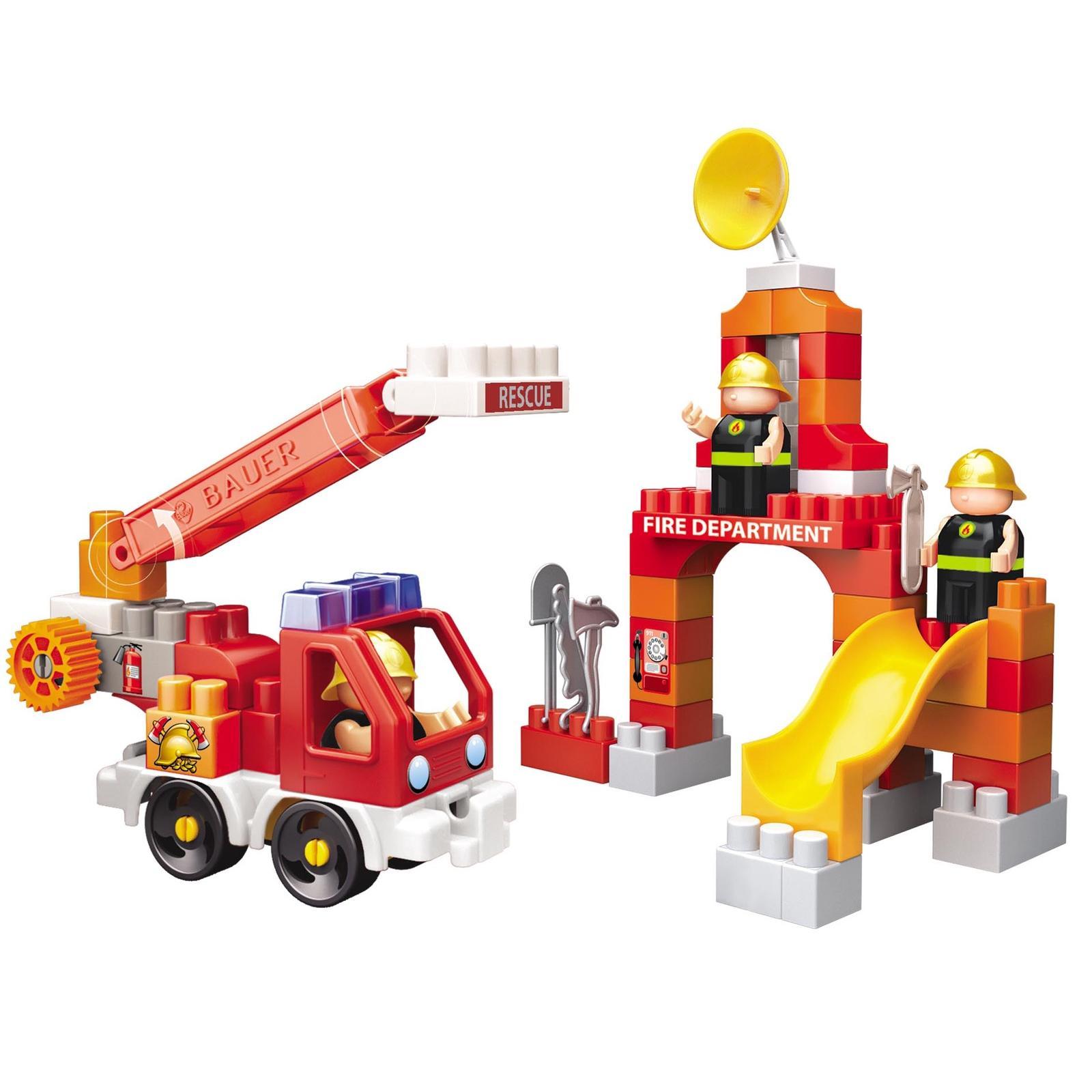 Купить Bauer Конструктор Fireman Пожарная машина и тренировочная площадка 740, Россия