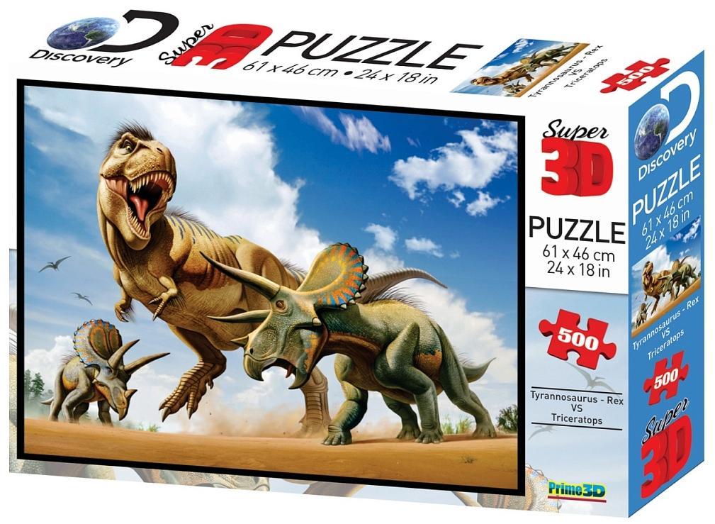 Купить PRIME 3D Стерео пазл Тираннозавр против трицератопса 10329 , Китай