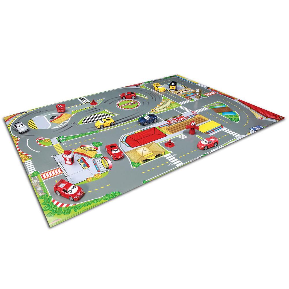 Bburago Игровой Коврик с 2-мя металлическими машинами серии Ferrari Kids, 18-31279