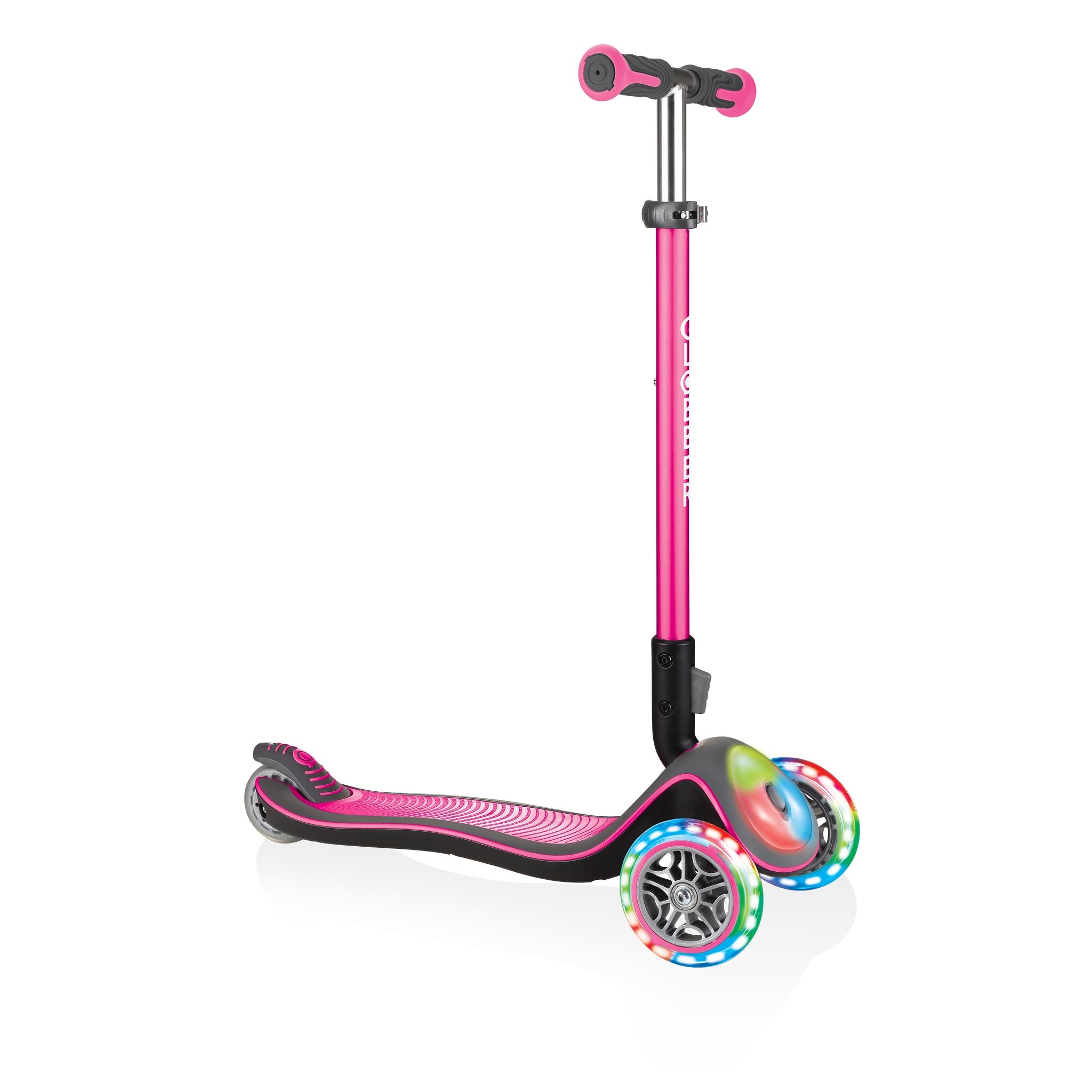 Купить Globber Самокат Elite Deluxe Flash Lights, со светящейся платформой и колесами, розовый, Китай