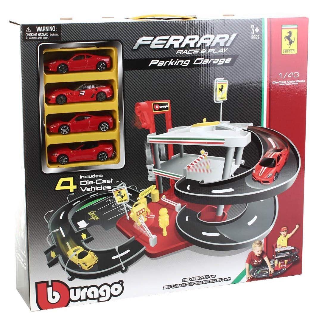 """BBURAGO """"Паркинг 3-х уровневый BB 18-31218 1:43 FERRARI RACE & PLAY PARKING 4 CAR, с 4-мя коллекционными машинками, Красный"""""""