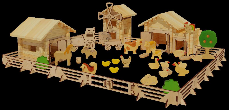 Купить ЛЕСОВИЧОК Ферма №5 - деревянный конструктор | 250 деталей, Лесовичок, Россия