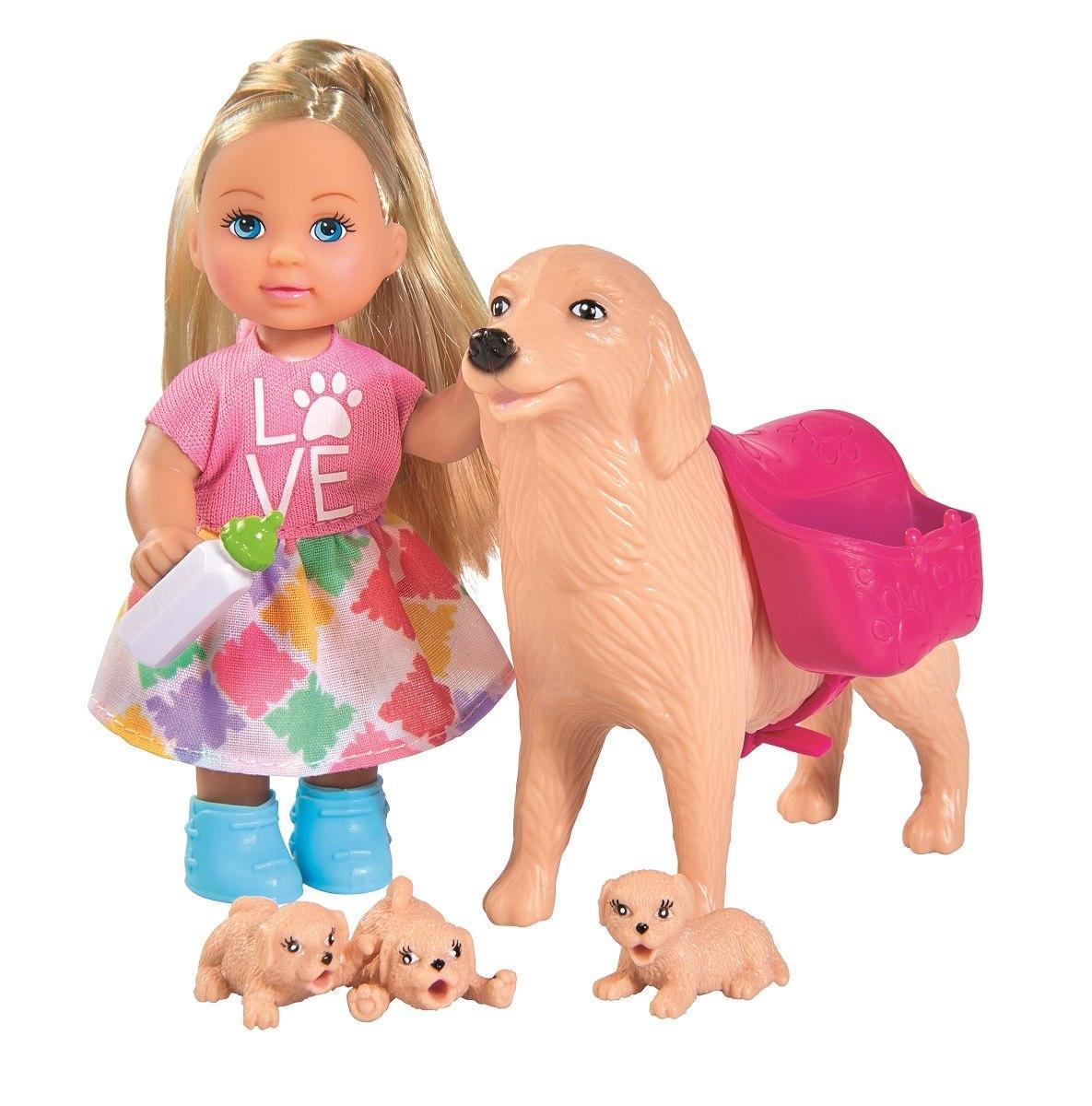 Купить Кукла EVI 5733072 с собачкой и щенками 12 см, Китай