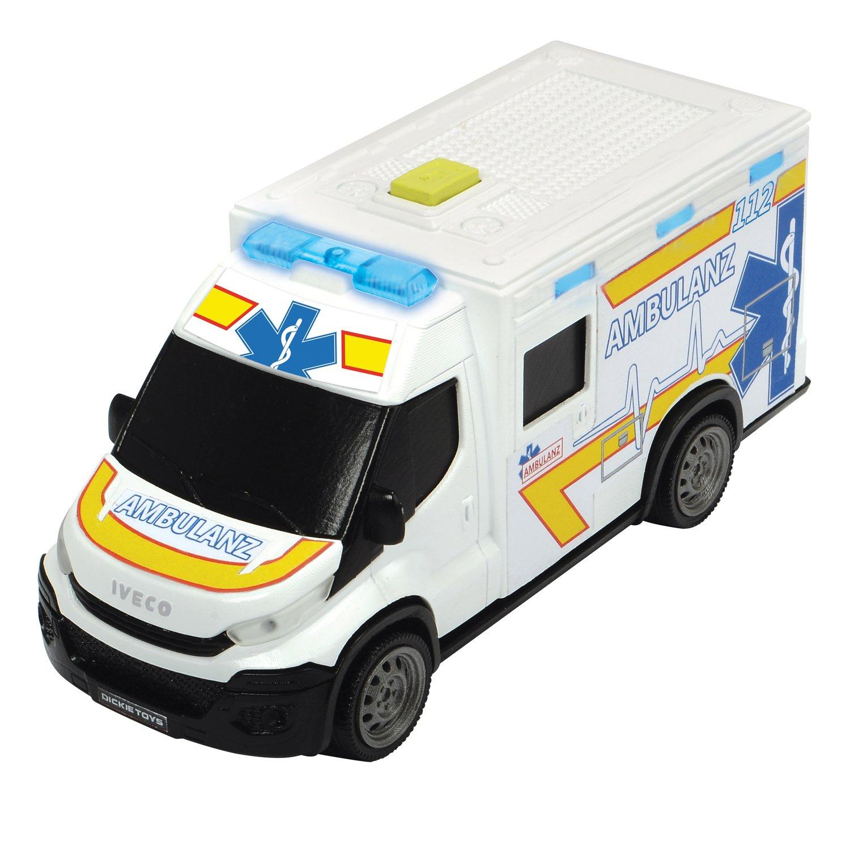 Купить Dickie Toys машинка скорой помощи Iveco Daily с носилками, 18 см, свет, звук, 3713012, Китай