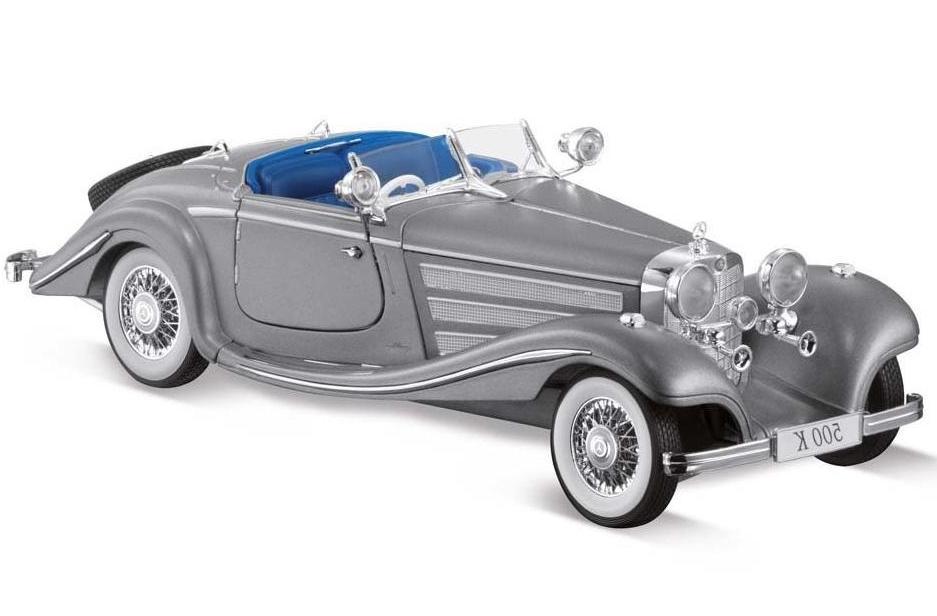 Купить Машинка Maisto 1:18 Mercedes-Benz 500 K Special Roadster год 1934-1936, серебряный, Китай