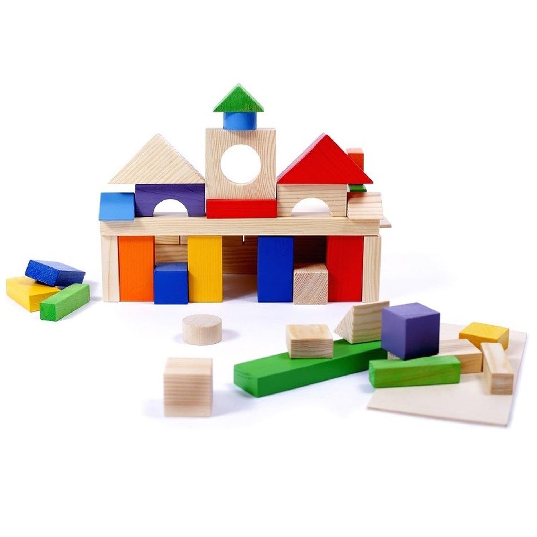 Купить Paremo Конструктор деревянный 51 деталь окрашенный, в пакете (окрашено 20 деталей), Россия