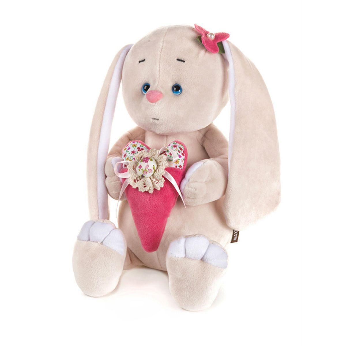 Купить Мягкая игрушка MAXITOYS Романтичный Зайчик с розовым сердцем 25 см., Россия