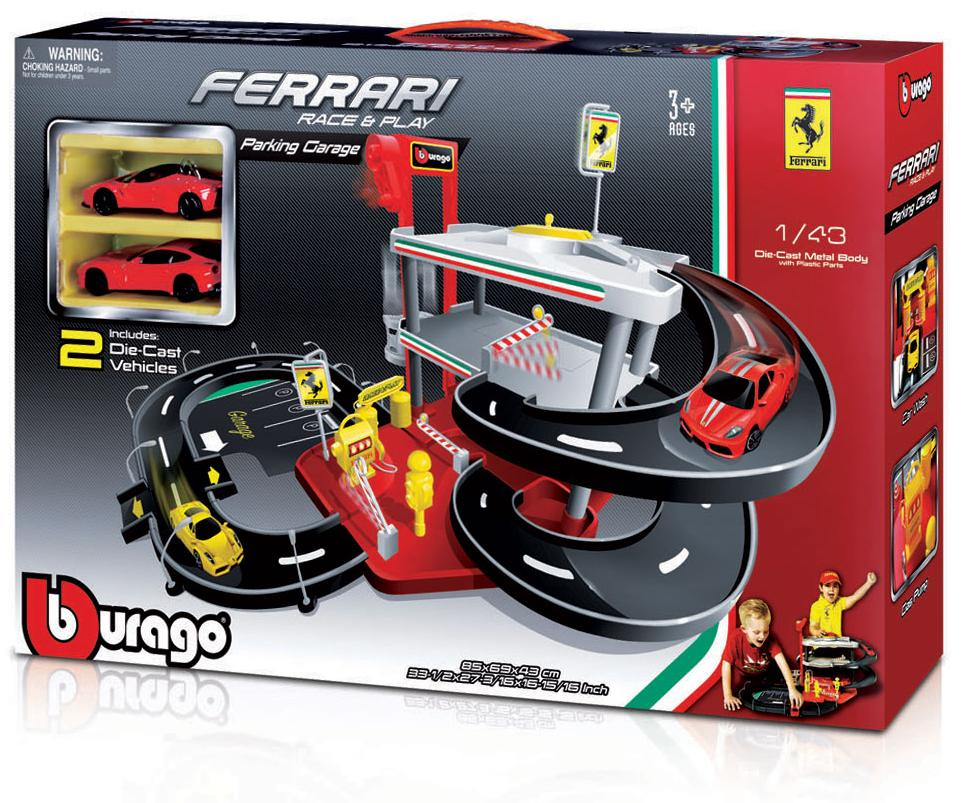 """BBURAGO """"Паркинг 3-х уровневый BB 18-31204 1:43 FERRARI RACE & PLAY PARKING GARAGE с 2-мя коллекционными машинками, Красный"""""""