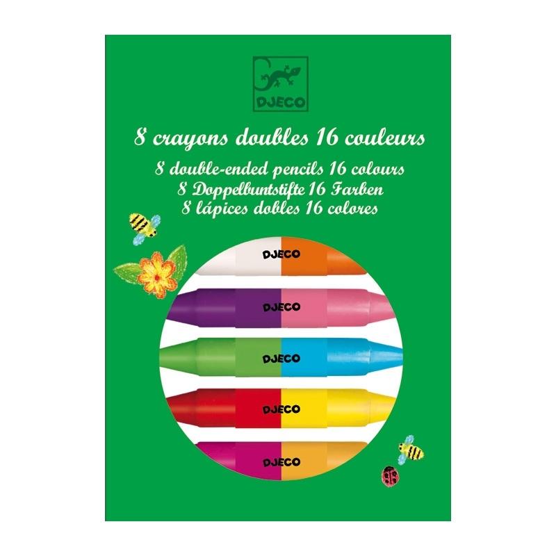 Купить DJECO Карандаши двойные, 8 штук, 16 цветов, Франция
