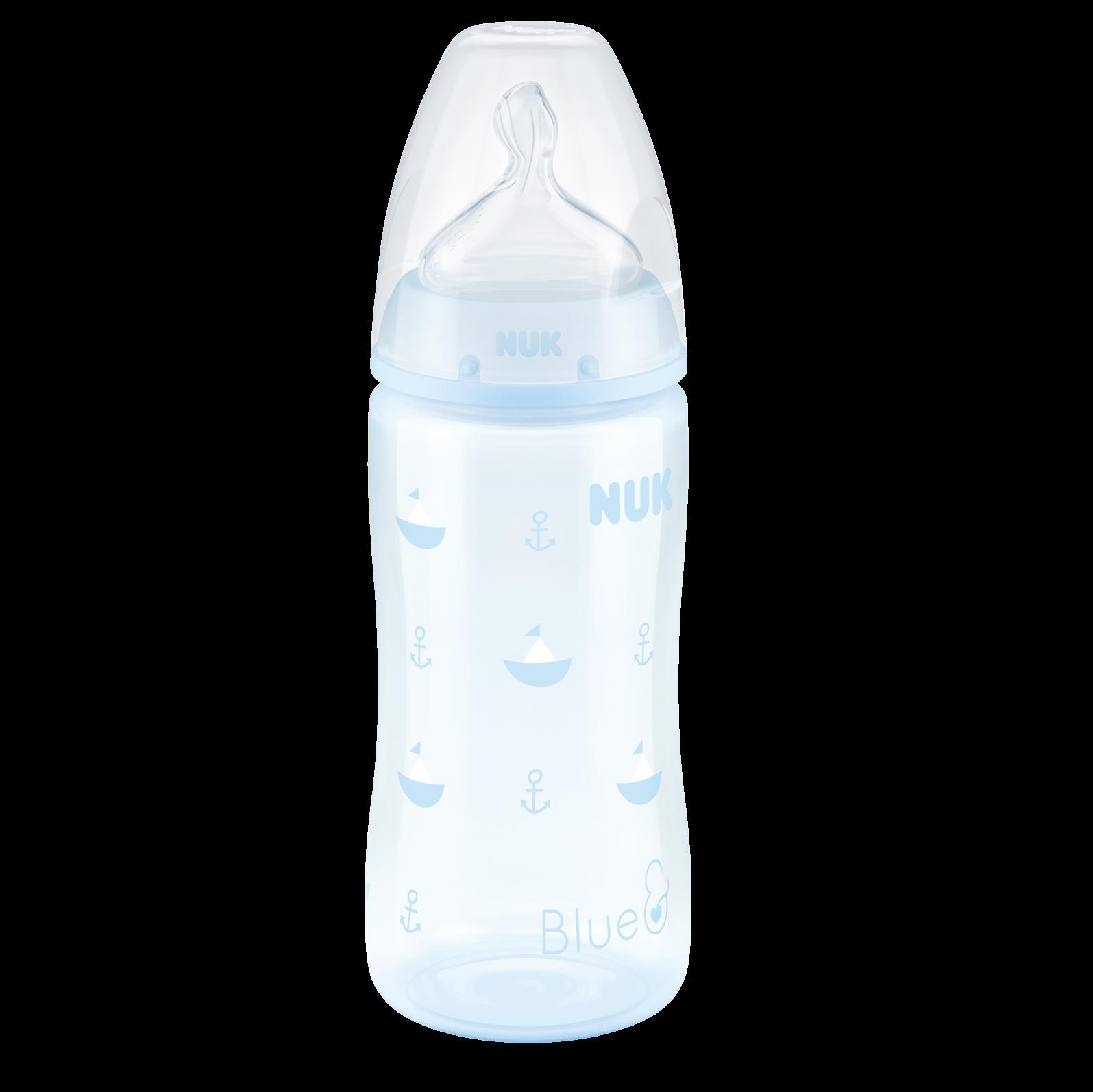 Купить NUK First Choice + Бутылочка 300 мл с силиконовой соской 0-6 мес. для заменителей грудного молока, Baby Blue Кораблик, Германия