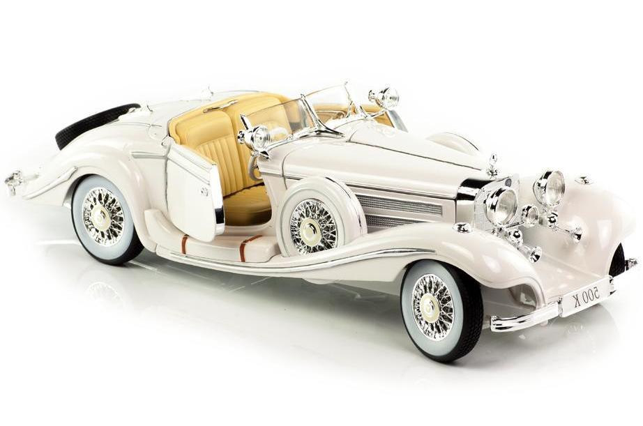 Купить Машинка Maisto 1:18 Mercedes-Benz 500 K Typ Specialroadster 1936 год, белая, Китай