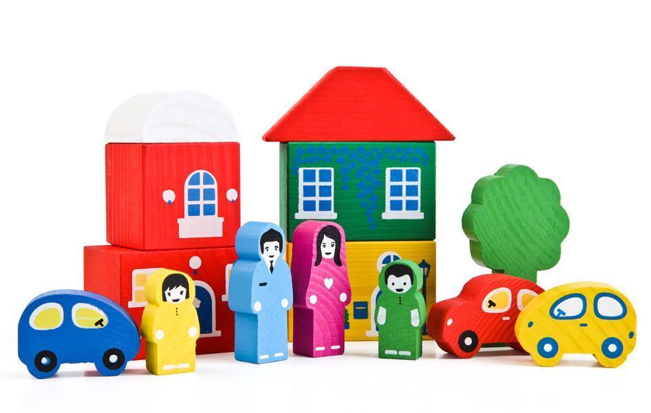 Купить Игровой набор ТОМИК 8688-4 Цветной городок (14 дет) зеленый, Томик, Россия