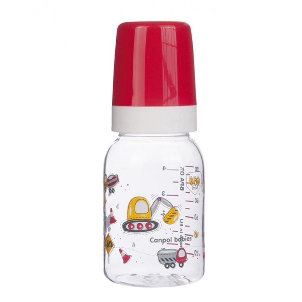 Купить Canpol Бутылочка тритановая (BPA 0%) Machines с силиконовой соской, 120 мл., 3+ мес., 11/849, красная, Польша