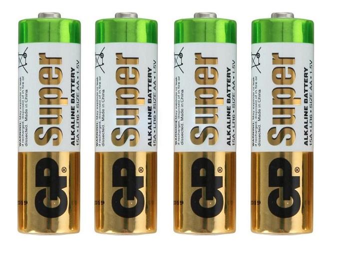 Купить Пальчиковые алкалиновые батарейки GP Super Alkaline , тип АA (LR6), 1, 5V, 4 шт, Китай