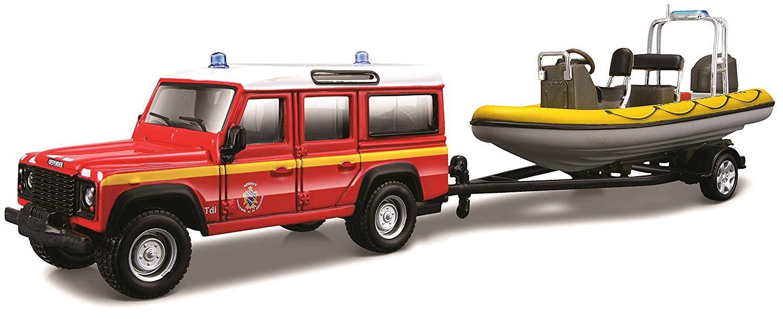 Купить BBURAGO Коллекционная машинка с катером на прицепе BB 18-32029 1:50 EMERGENCY FORCE AUTO Z DK, Красный , Гонконг