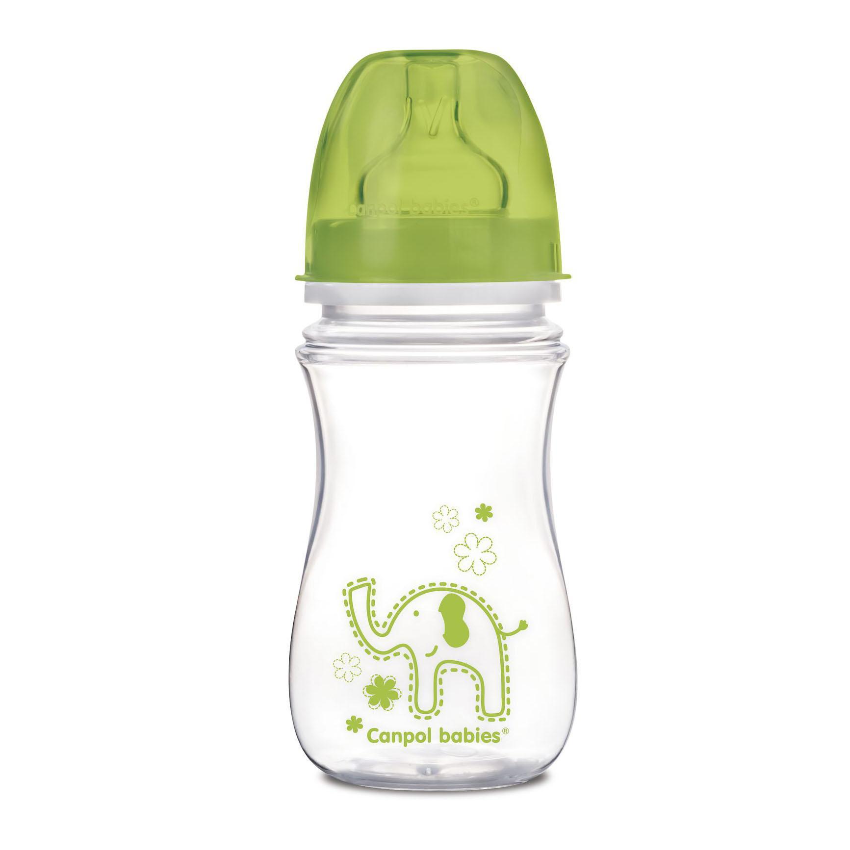 Купить Бутылочка Canpol EasyStart Colourful animals с широким горлом, антиколиковая, PP, 3+ мес., 240 мл, 35/206, зеленая, Китай