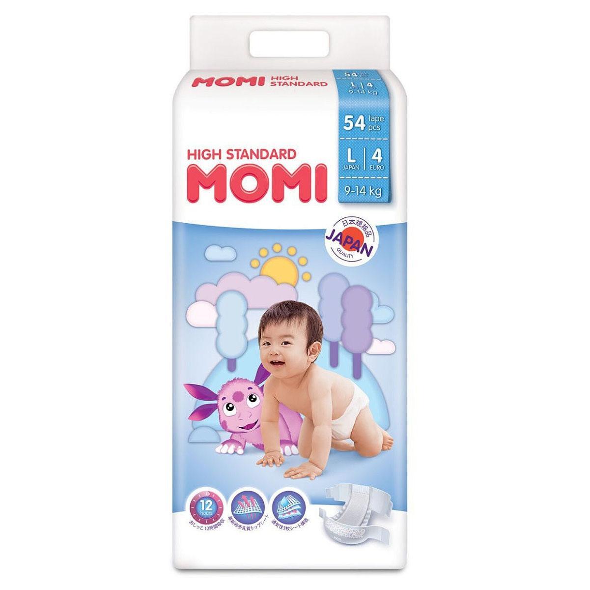 Купить MOMI High Standard Подгузники L (9-14 кг), 54 шт, Китай