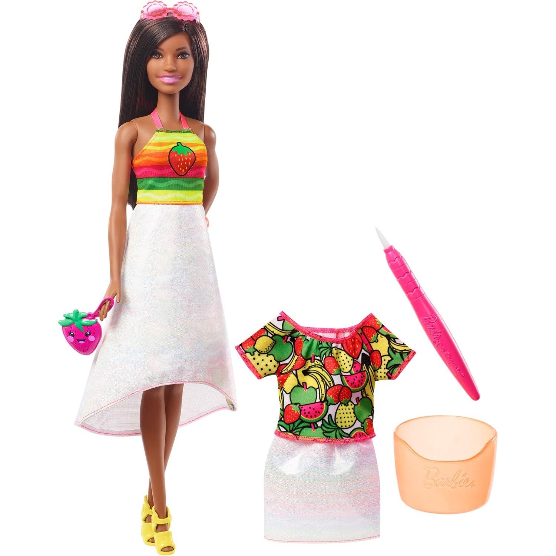 Купить Кукла Barbie Crayola Радужный фруктовый сюрприз , брюнетка, Китай