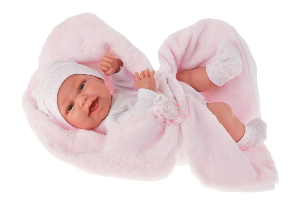 Antonio Juan Кукла-младенец Фатима на розовом одеяльце, 33 см