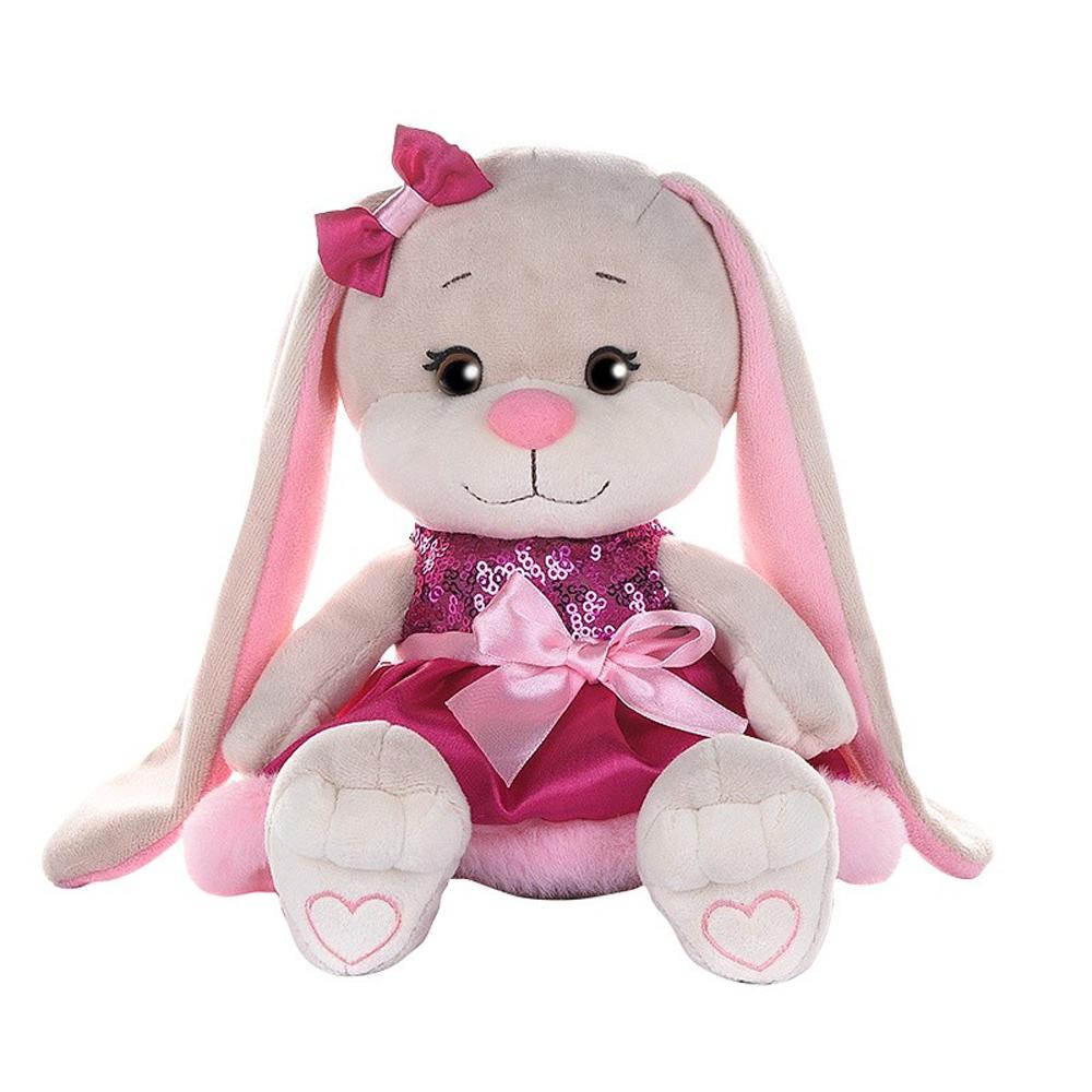 Купить Jack&Lin Мягкая игрушка Зайка в розовом платьице с пайетками и мехом , 20 см, Китай