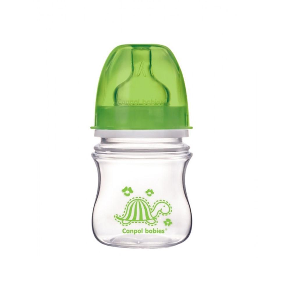 Купить Бутылочка Canpol EasyStart Colourful animals с широким горлом, антиколиковая, PP, 3+ мес., 120 мл, 35/205, зеленая, Китай
