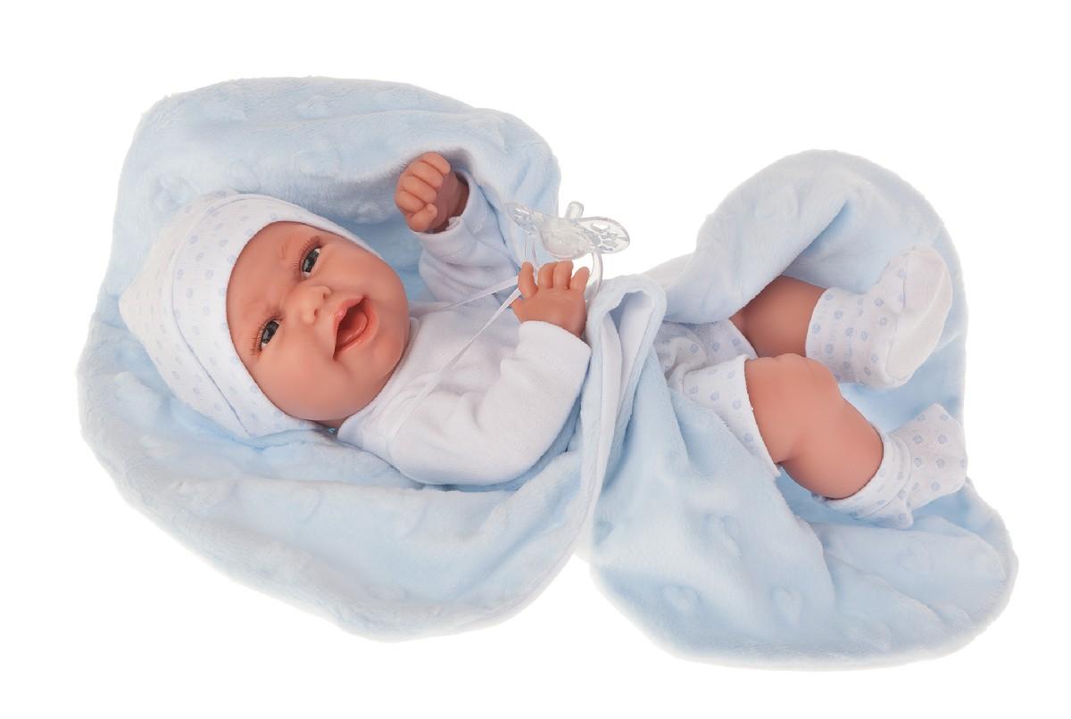 Antonio Juan Кукла-младенец Эва на голубом одеяльце, 33 см