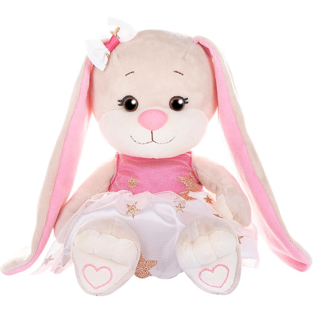 Купить Мягкая игрушка MAXITOYS Зайка в бело-розовом платьице со звездочками 20 см., Россия