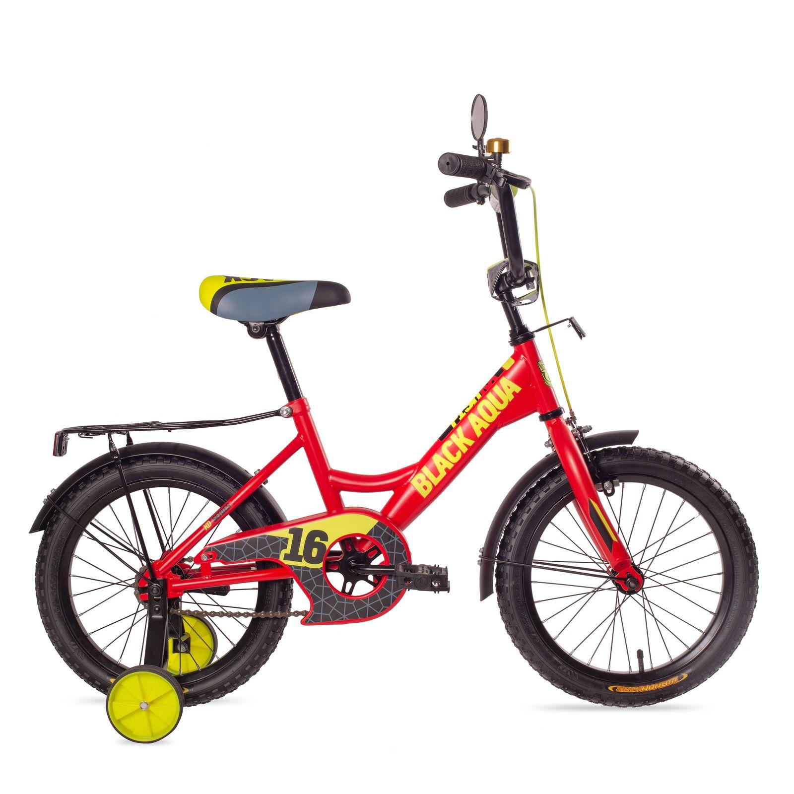 Купить Black Aqua Велосипед двухколёсный Fishka 12 с ручкой, со светящимися колесами, оранжевый неон KG1227/1, Китай