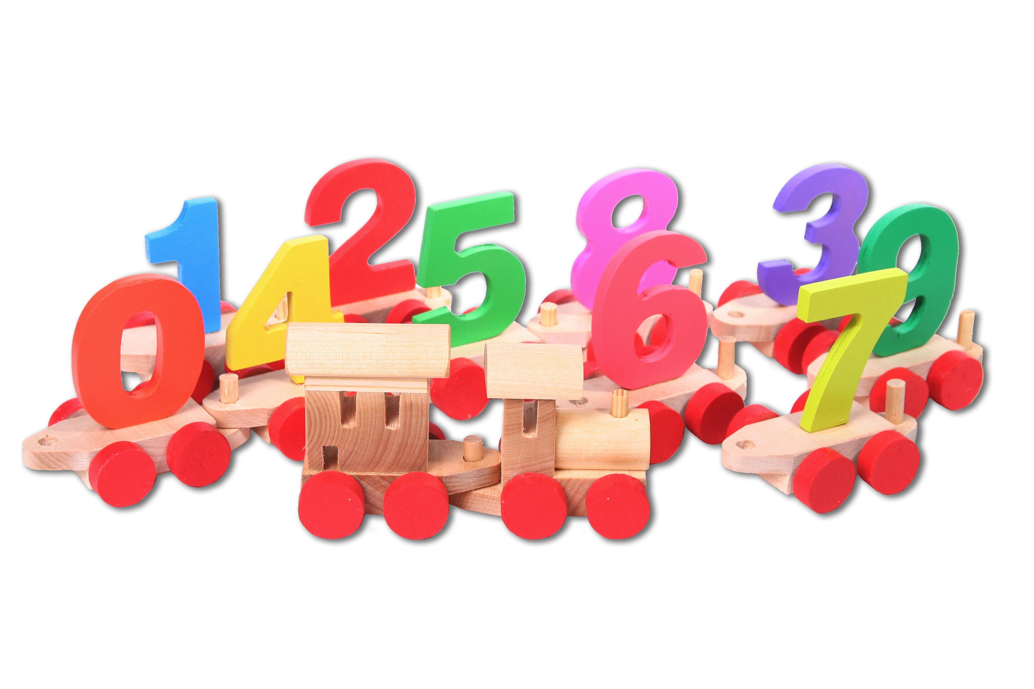 Купить Paremo Деревянный паровозик с цифрами, в пакете, Россия