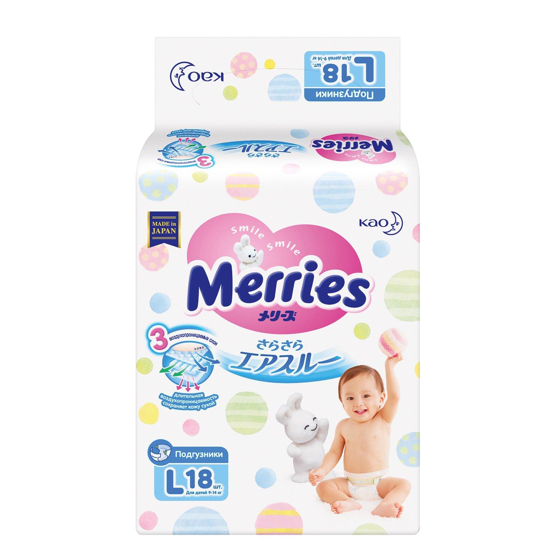 Купить Merries Подгузники L (9-14 кг), 54 шт, Япония
