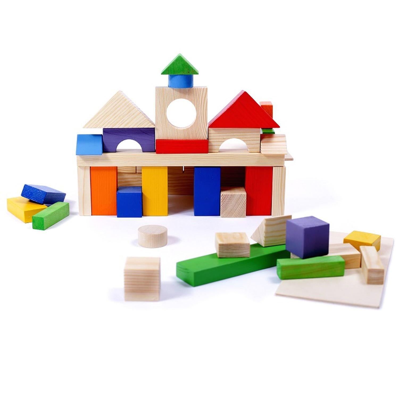 Купить Paremo Конструктор деревянный 51 деталь окрашенный, в деревянном ящике (окрашено 20 деталей), Россия