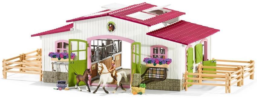 Купить SCHLEICH Конюшня - Центр верховой езды с лошадьми и аксессуарами - набор фигурок с домом, Китай