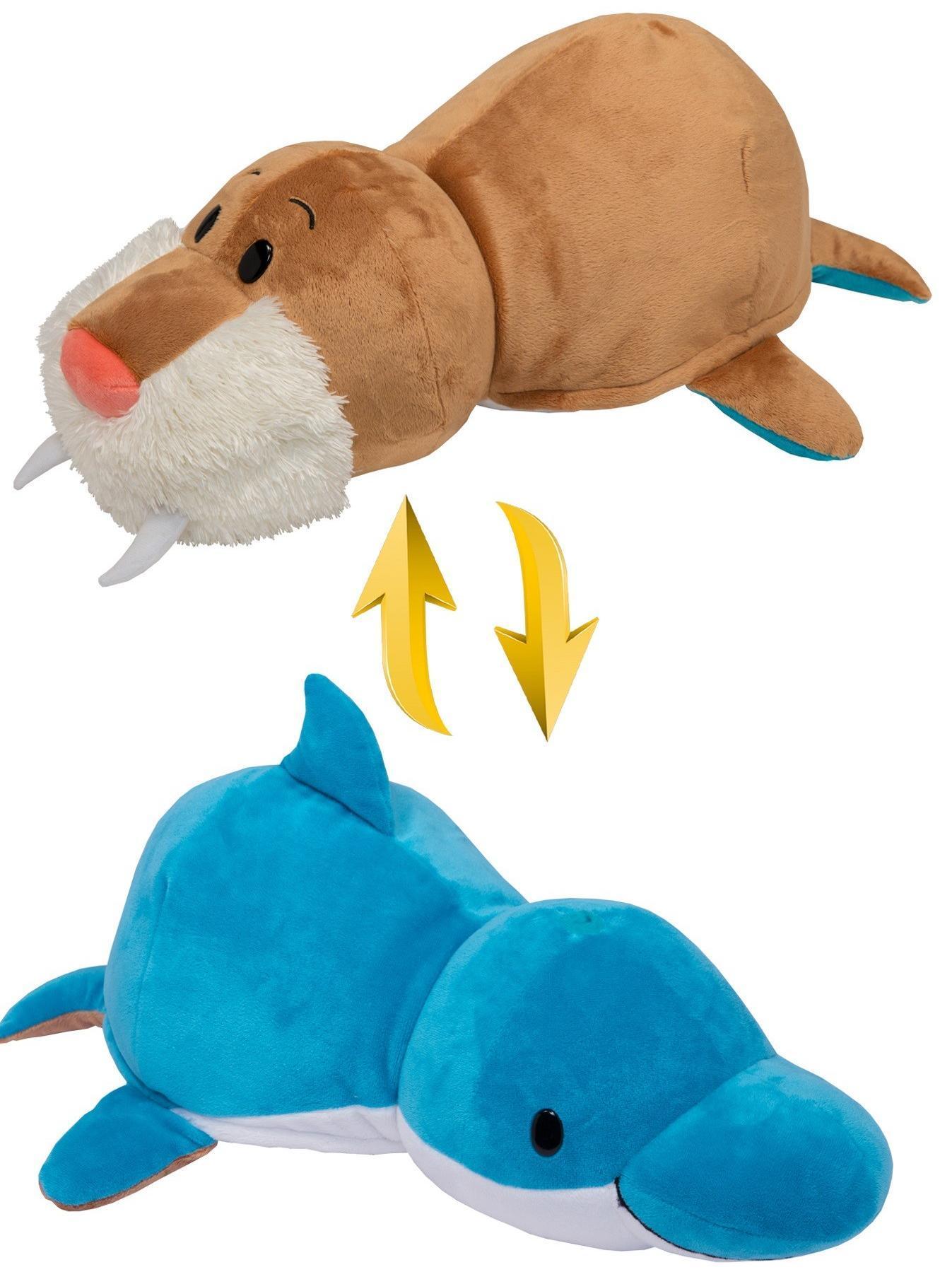 Купить 1Toy Морж - Дельфин 20 см - мягкая игрушка вывернушка, Вывернушки 1Toy, Китай