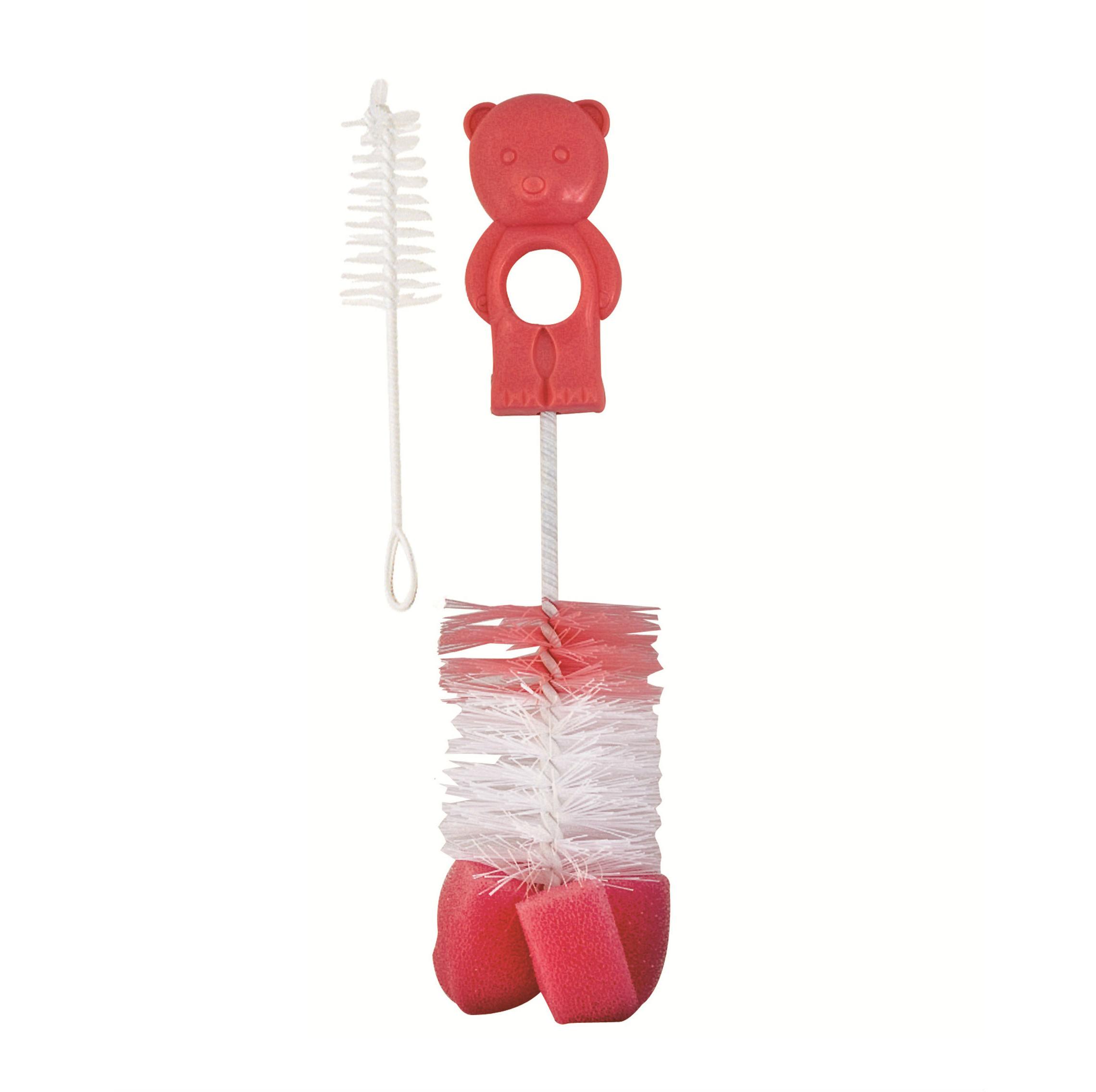 Canpol Ёршик для мытья бутылочек и сосок с губкой, розовый, Китай  - купить со скидкой