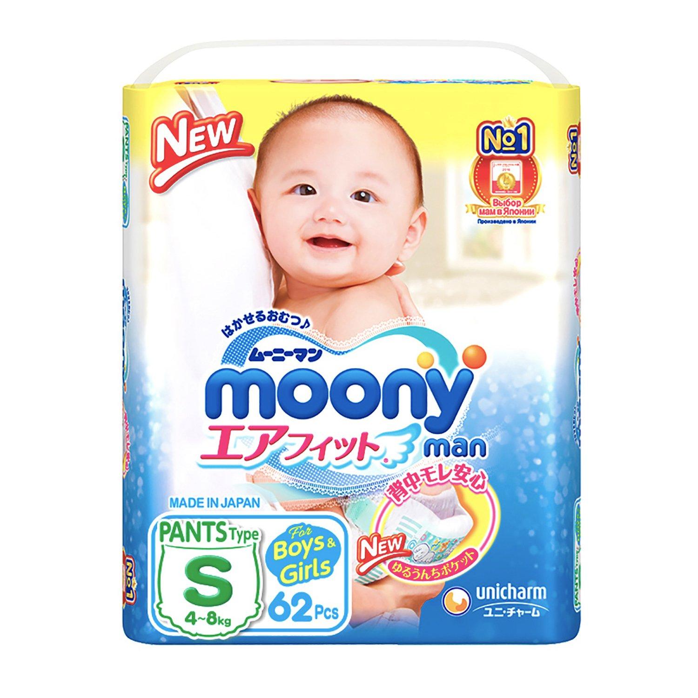 Купить Moonyman Трусики универсальные S (4-8 кг), 62 шт, Япония